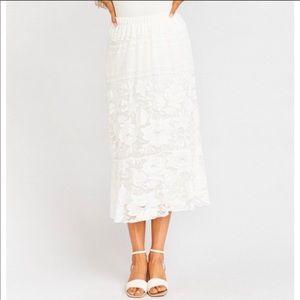 Show Me Your Mumu Ivory Kellen Lace Skirt L NWT